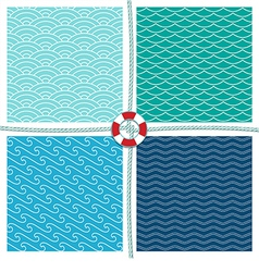 Sea pattern set background vector
