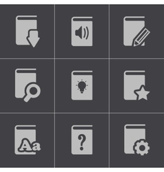 Black books icons set vector