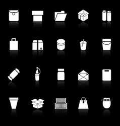 Package icons with reflect on black background vector