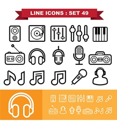 Music line icons set 49 vector