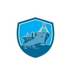 Container ship cargo boat shield retro vector
