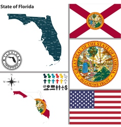 Map of florida with seal vector