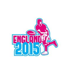 Rugby player passing ball england 2015 retro vector