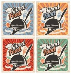 Set of retro restaurant posters vector