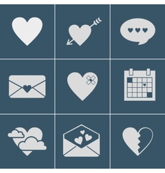 Mail love icons vector