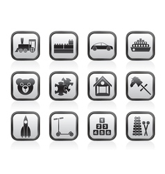 Different kinds of toys icons vector