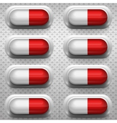 Red and white capsule pills with background vector