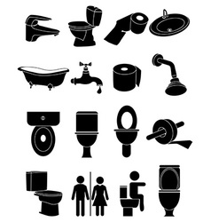 Wash room icons set vector