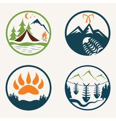 Set of vintage summer camp labels vector