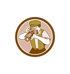 Photographer shooting camera circle retro vector