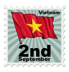 Post stamp of national day of vietnam vector