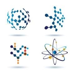 Organic chemistry logo set vector