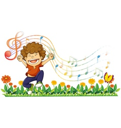 A boy singing out loud with musical notes vector