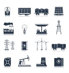 Energy icons black set vector