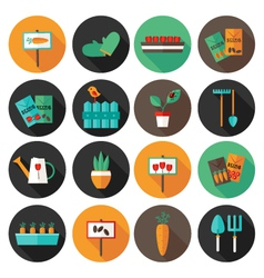 Gardening set circle flat icons vector