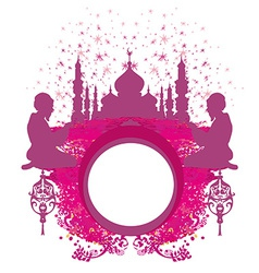 Abstract religious frame - muslim man praying vector