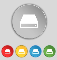 Cd-rom icon sign symbol on five flat buttons vector