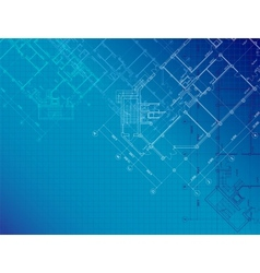Blue architectural background with plans vector