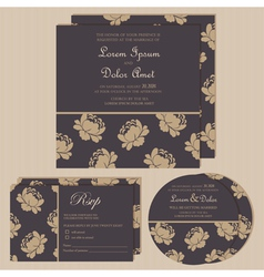 Dark wedding invitations with floral background vector