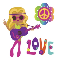 Cute hippie girl with guitar vector