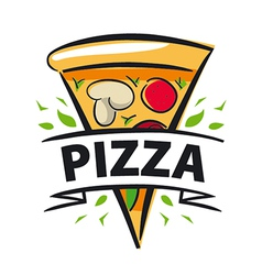 Logo slice of pizza and ribbon vector