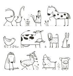 Funny cartoon farm domestic animals collection for vector