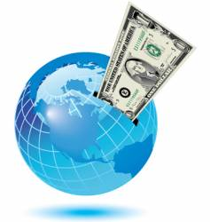 Globe dollar background vector