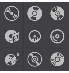 Black cd disk icons set vector