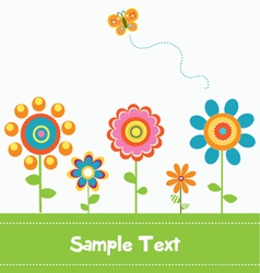 Retro flower card 2 vector