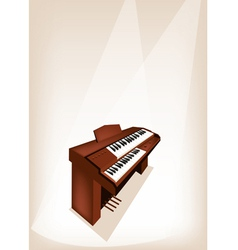A retro pipe organ on brown stage background vector
