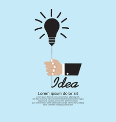 Hand holding light bulb inspiration vector