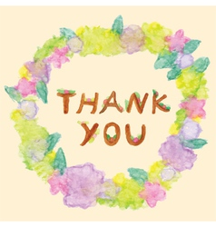 Thank you word in floral frame vector