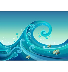 A big wave in the sea with fishes vector