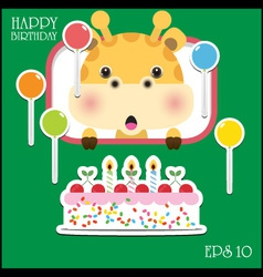 Happy birthday card with fun giraffe vector