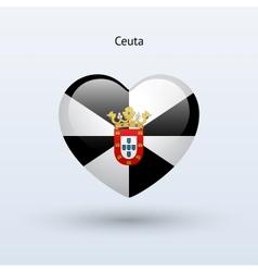 Love ceuta symbol heart flag icon vector