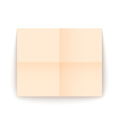 Empty old sheet of paper folded in fourfold vector