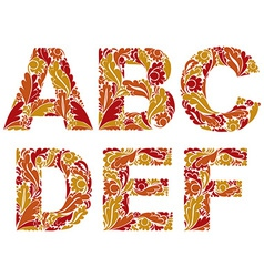 Letters decorated with seasonal autumn leaves a b vector