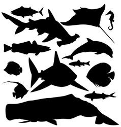 Ocean fish silhouettes set vector