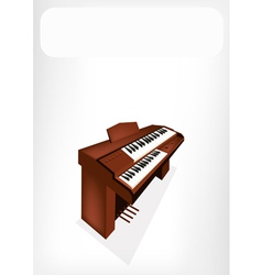 A retro pipe organ with a white banner vector