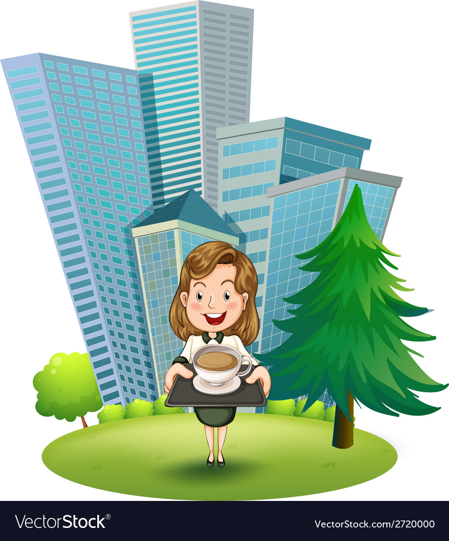 A woman outside the building holding a tray with vector | Price: 1 Credit (USD $1)