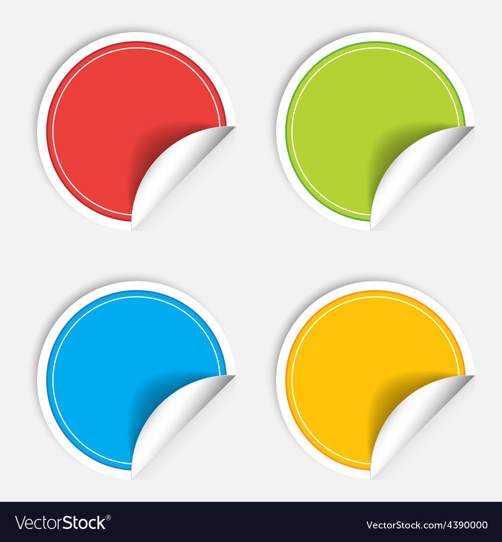 Colorful four blank stickers set badge collection vector