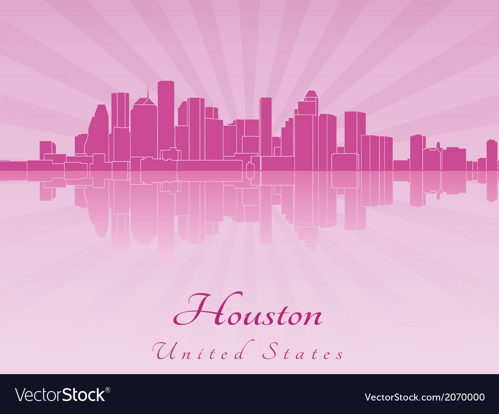 Houston skyline in purple radiant orchid vector | Price: 1 Credit (USD $1)