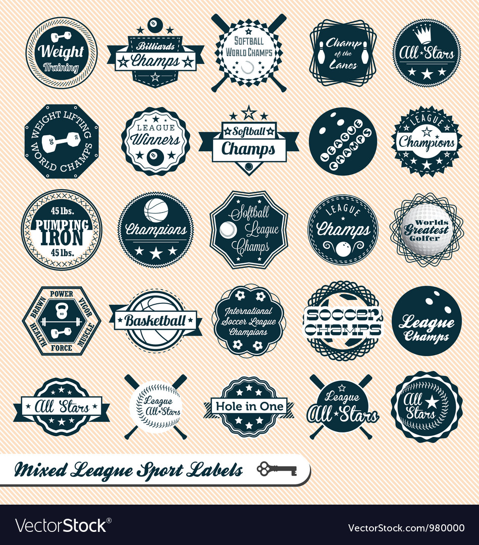 Mixed sport labels vector | Price: 1 Credit (USD $1)