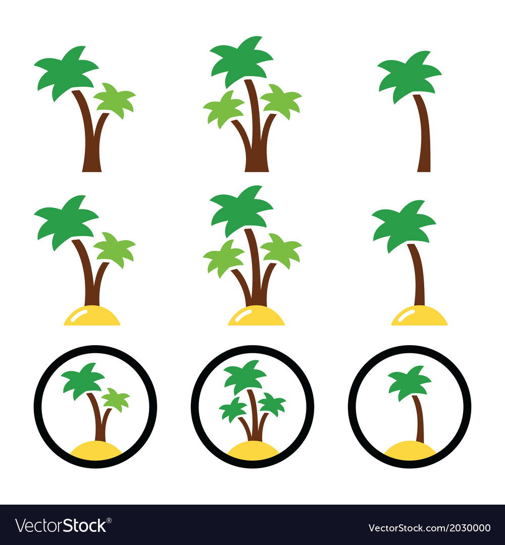 Palm trees exotic holidays on beach icons vector | Price: 1 Credit (USD $1)