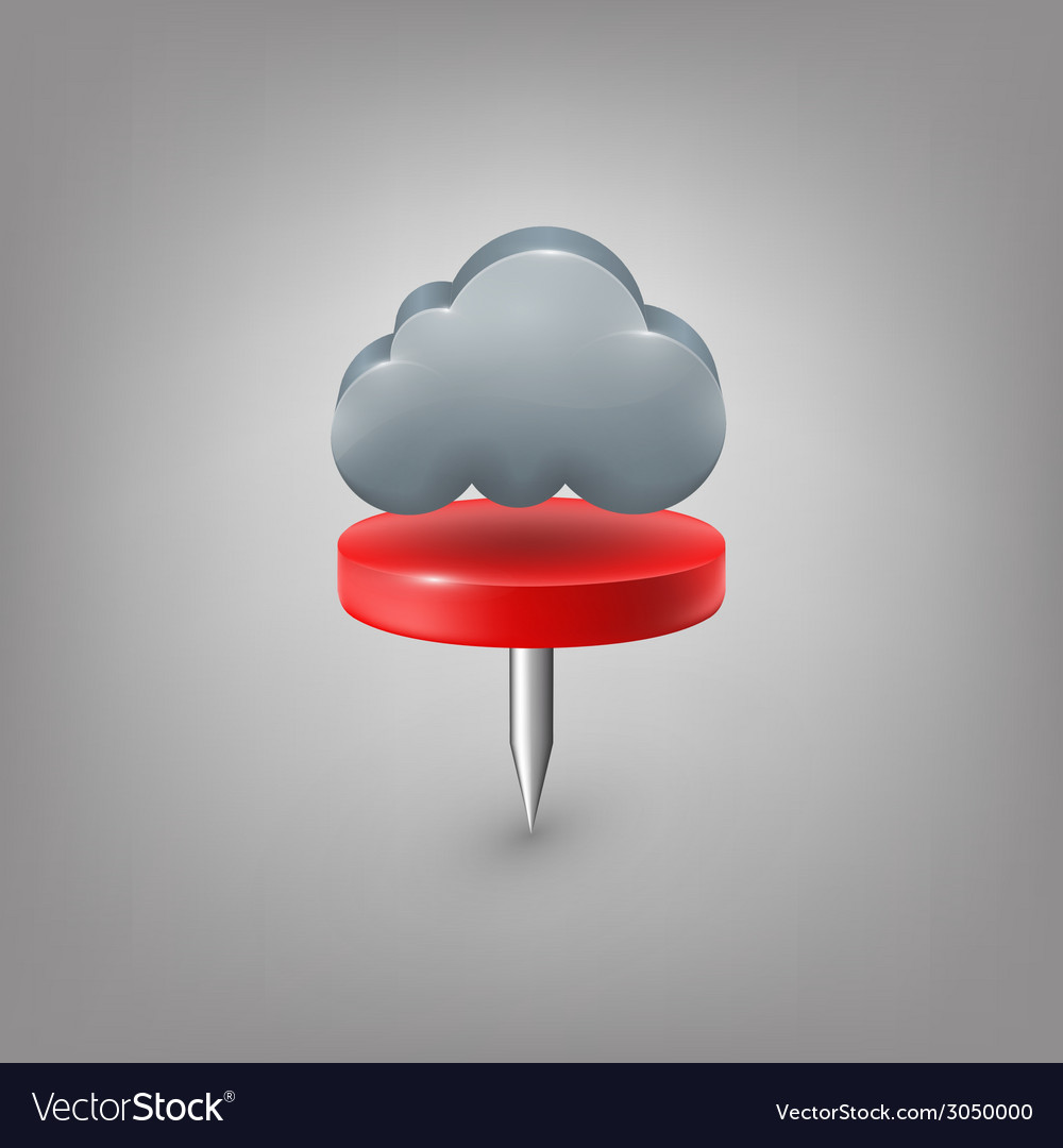 Red pin icon weather cloud vector | Price: 1 Credit (USD $1)