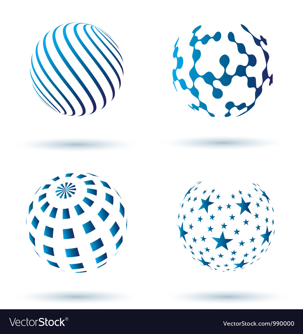 Set of abstract globe icons vector   Price: 1 Credit (USD $1)