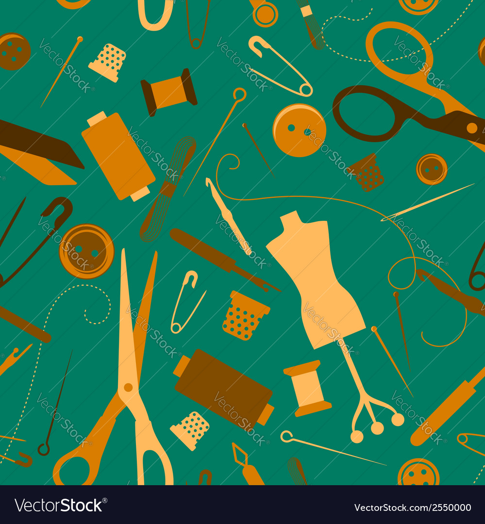 Sewing and needlework seamless pattern vector | Price: 1 Credit (USD $1)