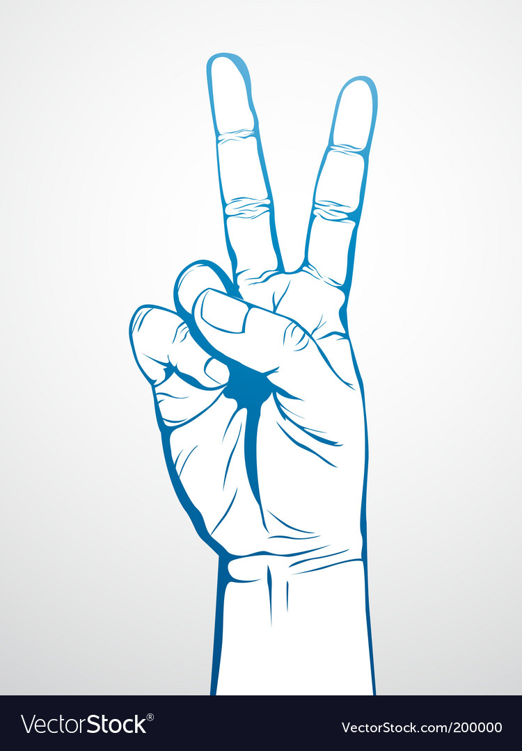 Victory sign vector | Price: 1 Credit (USD $1)