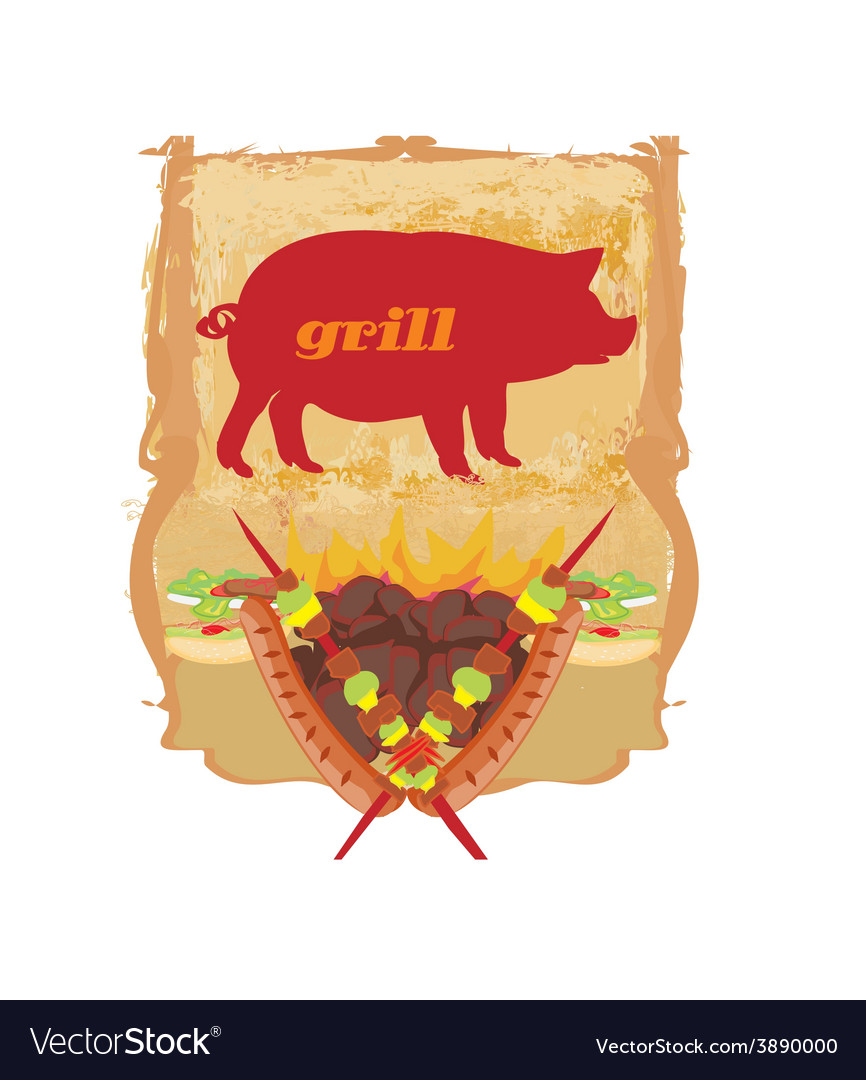 Vintage barbecue party invitation vector | Price: 1 Credit (USD $1)