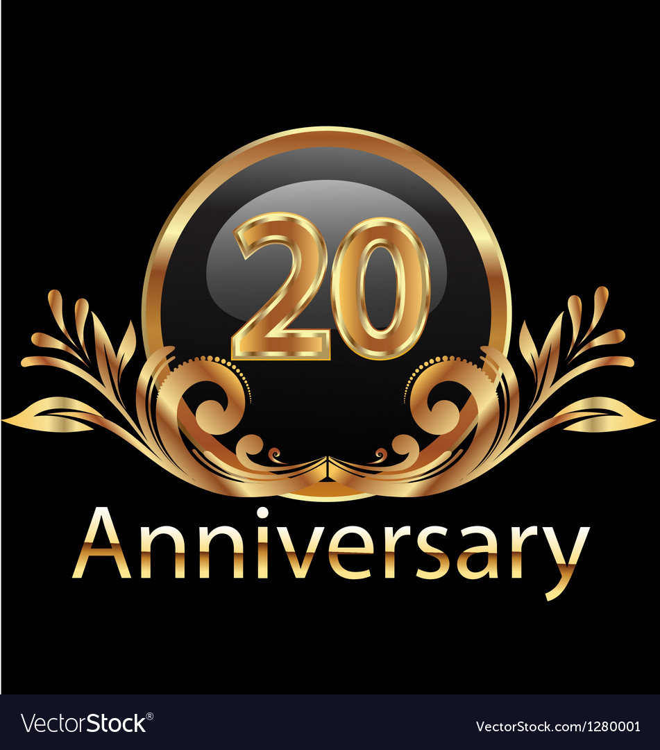 20 years anniversary birthday in gold vector | Price: 1 Credit (USD $1)